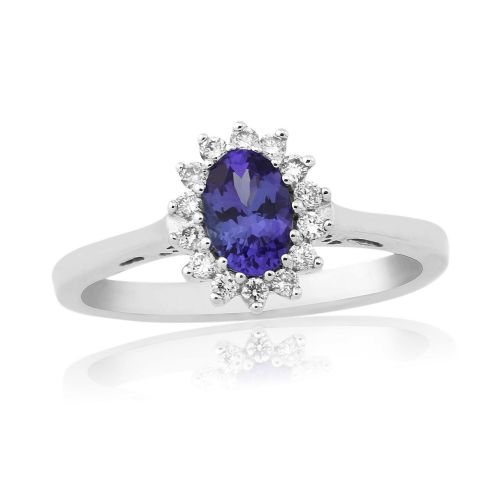 Tanzanite And Diamond Oval White Gold Cluster Ring